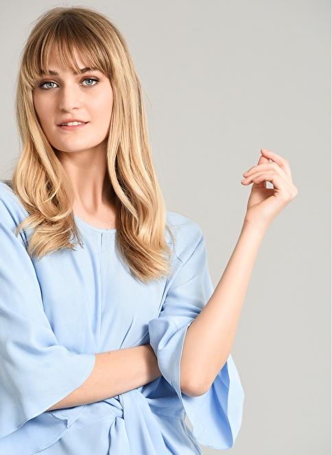 People By Fabrika Bağlama Detaylı Bluz Mavi